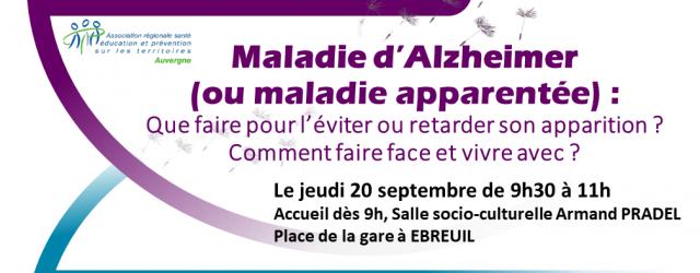 """Le centre social VIVA SIOULE, en partenariat avec le Centre Bien Vieillir, le CRCAS Agirc-Arrco et l'ARSEPT, organise une : Conférence """"Maladie d'Alzheimer ou maladies apparentées"""" que faire pour l'éviter […]"""